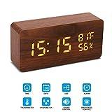 Holz LED Wecker, Chantwon Digitalwecker Uhr Datum Temperatur Anzeige, 12/24H und 3 Einstellbare Helligkeit LED einstellbar Wecker für Zuhause Schlafzimmer Büro Kinder