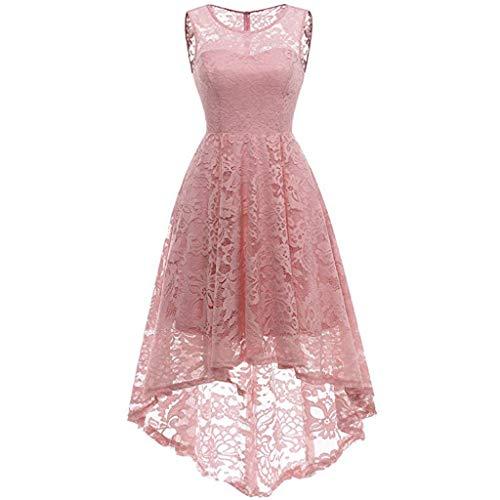 UINGKID Sommerkleid Damen Kleid Tshirt Retro Elegant Kurzarm Minikleid Kleider Woman Lace Round Neck Sleeveless Pure Color Swing Slim Dress Evening Dress