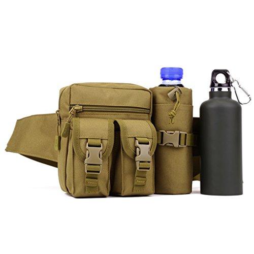 Hüfttasche mit Flaschenhalter, Unisex Taktische / Militärische, für Radfahren, Wandern, Trekking, Bergsteigen, Klettern od. andere Ourdoor Sport Braun