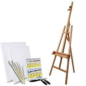 Artina Ensemble pour peinture - Chevalet «Barcelona» + Set de peinture acrylique + accessoires