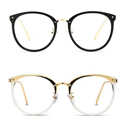 37b2c5e963 TIJN Round Optical Eyewear Non-prescription Eyeglasses Frame Vintage  Eyeglasses Clear Lens for Women and