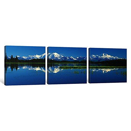iCanvasART 3Stück Reflection of Mountains in Lake, MT Foraker und MT McKinley, Denali National Park, Alaska, USA Kunstdruck auf Leinwand, Panorama Bilder, 121,9x 40,6cm/1,9cm Tiefe -