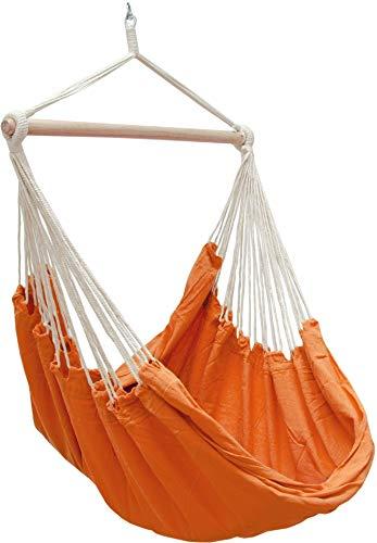 AMANKA Fauteuil Suspendu pour asseoir 2 Personnes Hamac 185x130cm Chaise 100% Coton balançoire XXL 150kg siège pour Se Balancer Orange