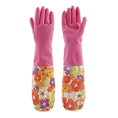 Fletion Cute Floral Print Natural Latex Gloves Durable Waterproof Washing Gloves Lining Velvet Long Household Warm Gloves Dishwashing Cleaning Rubber Warmer Gloves for Home Garden Kitchen