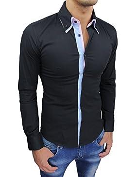 Camicia uomo sartoriale class nera slim fit cotone casual elegante