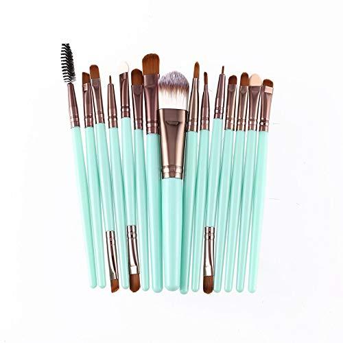 vcbbvghjghkhj-UK 15pcs / kit pinceaux de Maquillage Set cosmétique Maquillage Outil de beauté Pinceau synthétique Cheveux-Vert et café