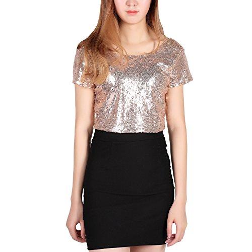 West See Damen Glitzer Pailletten Kurzarm Rückenfrei Crop Top T-Shirt Bluse Kurz (EU 36(Tag L), - Gold-pailletten-shirt