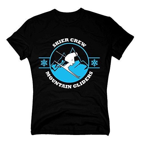 Herren T-Shirt - Skier Crew - Mountain Gliders - von Shirt Department, schwarz-Weiss, S - Mountain Glider