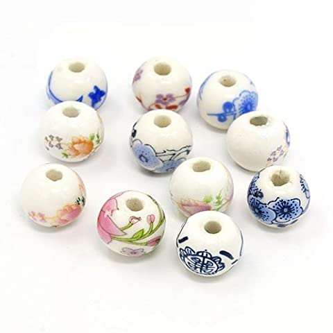 Packet of 10 x White/Mixed Porcelain 12mm Round Beads - (HA27185) - Charming Beads