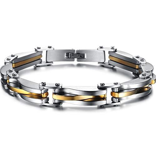 Keybella bracciale braccialetto per uomo braccialetto catena in acciaio inox oro argento