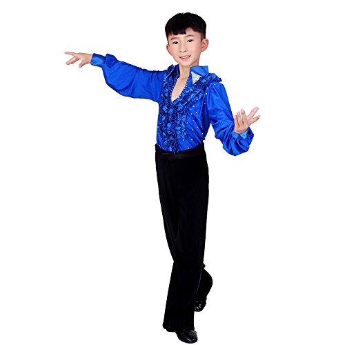Tanz Jungen Kostüm - XFentech Hemd Hose Set Junge lateinische Tanz Kinder Tanzkleidung Kostüm Darbietungen Tanzkostüme für Karneval Kindertag Aufführung