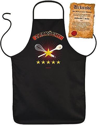 Grill-Schürze Starköchin BBQ Fun Koch-Schürze geil bedruckt Geschenk-Set mit Grillmeister-Urkunde