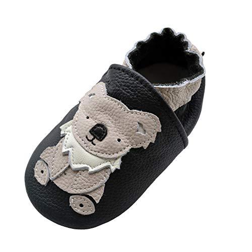 iEvolve Baby Babyschuhe Wildledersohle Baby Lederschuhe Lauflernschuhe Krabbelschuhe Vielzahl Art(Schwarz Koala,0-6 Monate) - Koala Mädchen Für Baby-schuhe