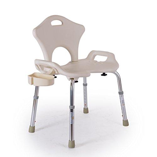 RUNWEI Verstellbarer Duschstuhl Mit Rückenlehne - Badewannenstuhl Mit Armlehnen for Behinderte, Senioren, Senioren Weiß