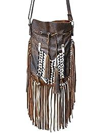 KARMABCN N48P- Bolso de cuero indio del marrón antiguo, bolso del estilo del nativo