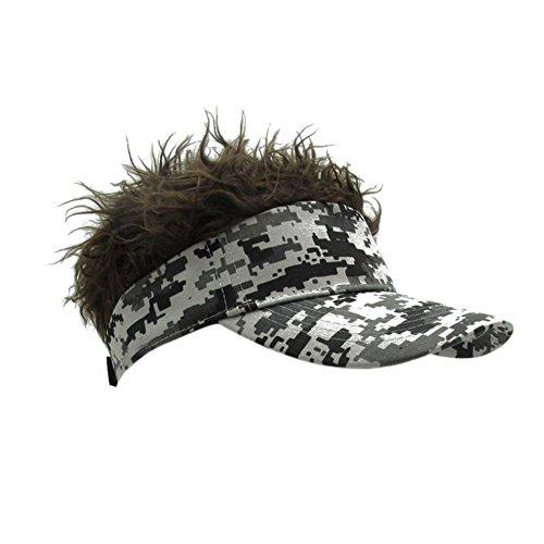 sier Cap Hut Wingbind Neuheit Blonde Haar Visor Baseball Cap mit Lustige Kunsthaar (Hut Mit Haar)