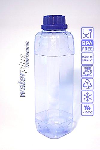 2 x TRITAN Trinkflasche 1,0 Liter (eckig) + 2 Dichtdeckel (CO2-Verschluss) + 2 Standarddeckel (100% ohne Weichmacher und Schadstoffe) aus Deutschland
