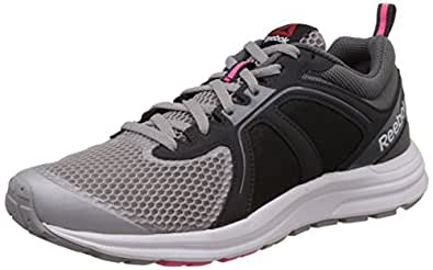 Reebok Women's Zone Cushrun 2.0 Grey, Black and Pink Running Shoes - 8 UK