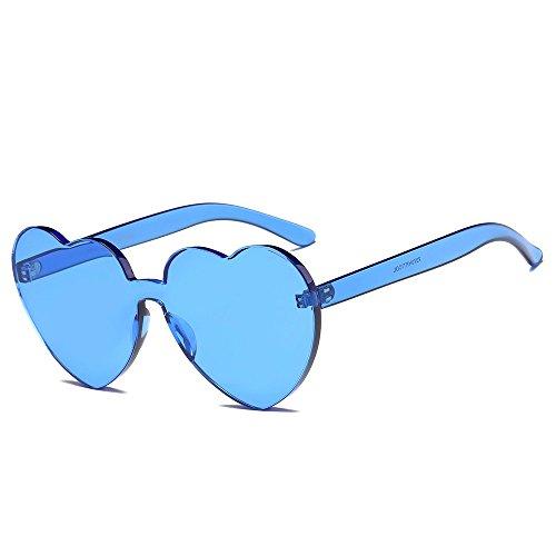 KUDICO Unisex Sonnenbrille Herz Rahmenlos Glasses Frame Bonbon Farbbrillen mit unterschiedliche Farben Brillengläser Party Brille(G, One Size)