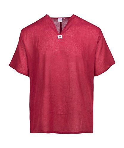 2xl Short Sleeve Shirt (Lofbaz Herren Thai V-Neck T-Shirt Short Sleeve Weinrote 2XL)