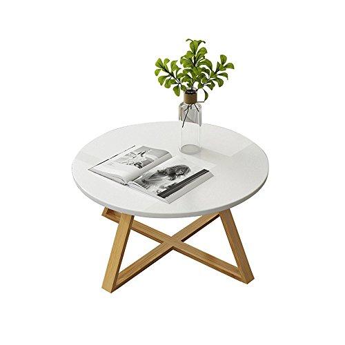 QIN PING GUO Table Basse en Bois Massif Moderne Minimaliste Petit Appartement Salon Table à thé en Bois Simple Petite Table Ronde Blanche (Taille : 80 * 40cm)
