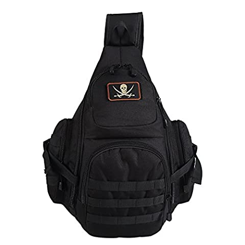 Lalawow Sling Bag taktisch Rucksack Daypack Fahrradrucksack Umhängetasche Schultertasche Crossbody Bag (Papier Bag System)