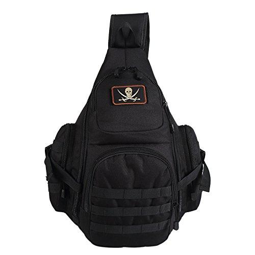 Lalawow Sling Bag taktisch Rucksack Daypack Fahrradrucksack Umhängetasche Schultertasche Crossbody Bag (Schwarz) (Links Taktische)