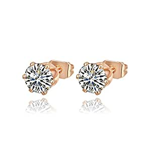 Ananth Jewels Swarovski Elements Small Solitaire 0.7 cm Zircon Copper Rose Gold Plated Stud Earrings for Women