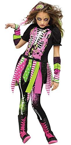 Fancy Me Kinder Mädchen 4 Stück Neon Zombie Halloween Kostüm Kleid Outfit 4-10 Jahre - Multi, 6-8 Years (Neon Zombie Kostüm)