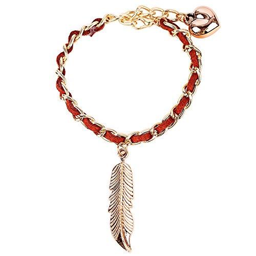 winters-secret-adjustable-women-hand-knitting-leaf-pendant-brown-simple-link-bracelet