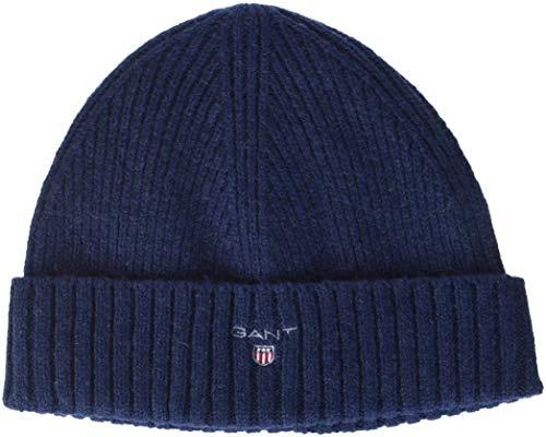 GANT Damen O2. Wool Lined Knit Beanie Strickmütze, Blau (Marine), One Size