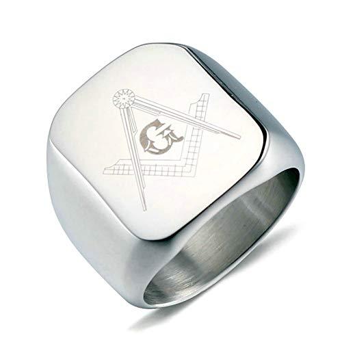 Aooaz Gioielli anelli da uomo anelli acciaio inossidabile Massoneria anelli hip hop Argento Dimensione italiana 22