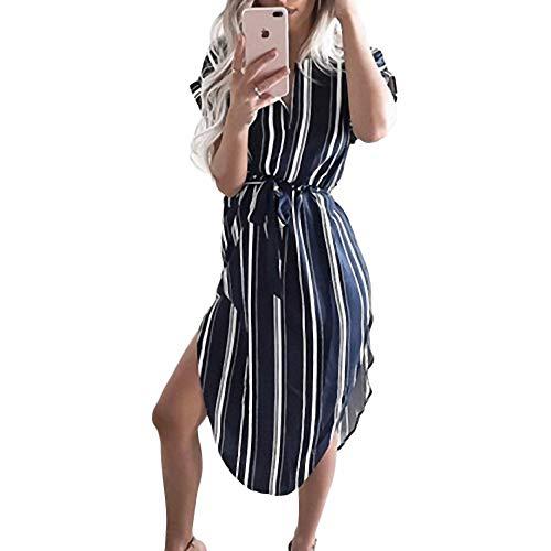 YuJian12 Heißer Frauen geometrischen Druck Sommer Boho Strand Dress lose fledermausärmel Dress Blauer Streifen -