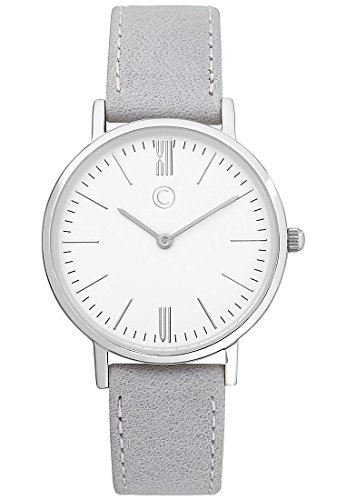 C-Collection by CHRIST Damen-Armbanduhr Analog Quarz One Size, weiß, grau (Damen Collection Leder)