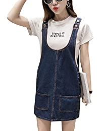 Mujer Vestido Peto Vaquero Peto Falda - Denim Vestido Dungaree Monos Denim Vestido  Talla Grande 32b91717cd5