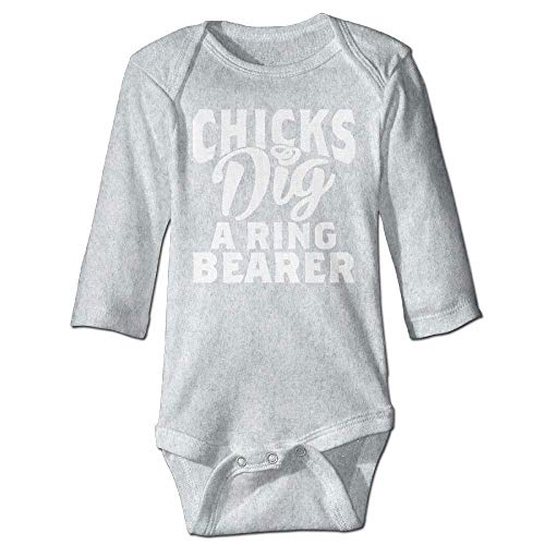 Unisex Toddler Bodysuits Chicks Dig A Ring Bearer Boys Babysuit Long Sleeve Jumpsuit Sunsuit Outfit Ash (Baby-ring-bearer-outfit)