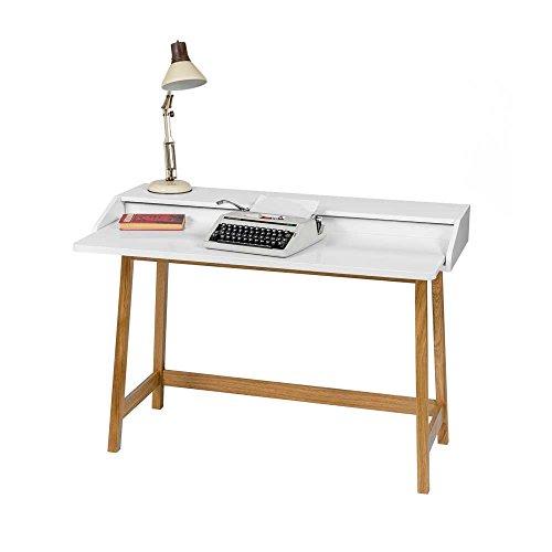Pharao24 Schreibtisch mit Aufsatz Weiß Eiche