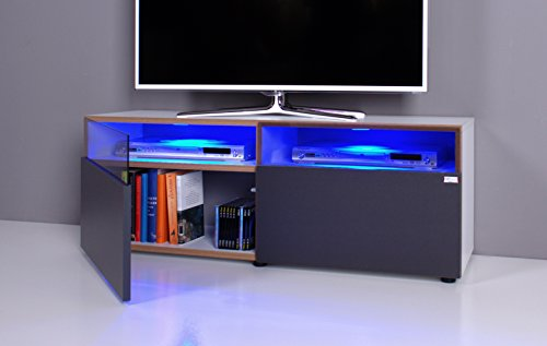 Lowboard / TV-Bank NOOMO weiß / anthrazit inklusive RGB-LED Beleuchtung - 2