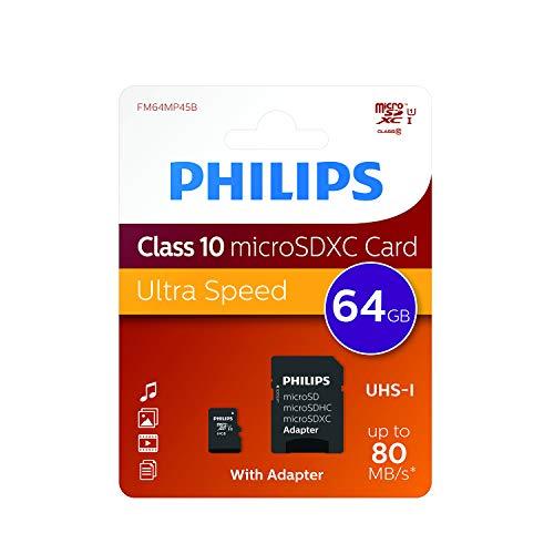 Philips - Micro SDHC 64 GB Class 10 Memory