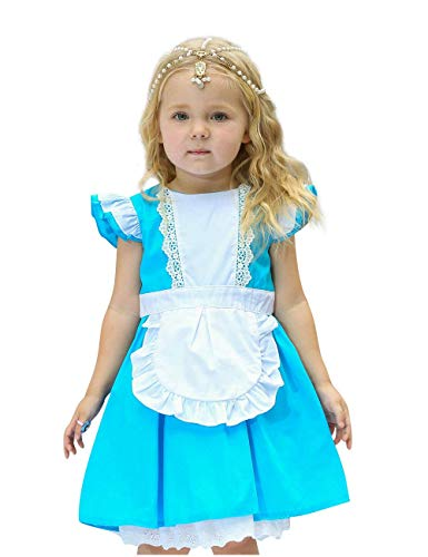 Girl Kostüm Harem - Bobopai Baby Girls Princess Snow White Costume Fancy Fairy Dressing Up Cosplay Dress with Headwear (D34-blue)