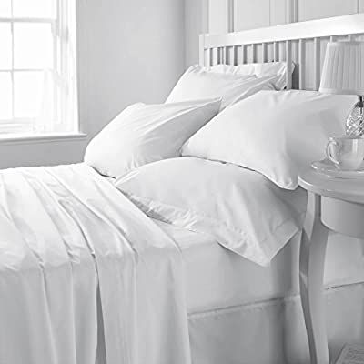 UK Care Direct Luxurious Pure Cotton Hospital Quality Flat Sheet/Top Sheet or Pillowcase Pair