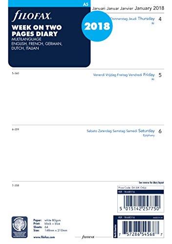 Filofax 000018-68516 Kalender, A5 1 Woche auf 2 Seiten 4x4 Sp. (M) 2018