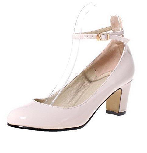 AgooLar Femme Pu Cuir Couleur Unie Boucle Rond à Talon Correct Chaussures Légeres Abricot