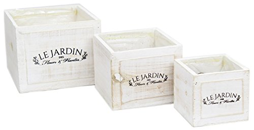 Le Jardin Set Of 3 Rustic White Washed Wooden Square Planters Herb Flower Boxes