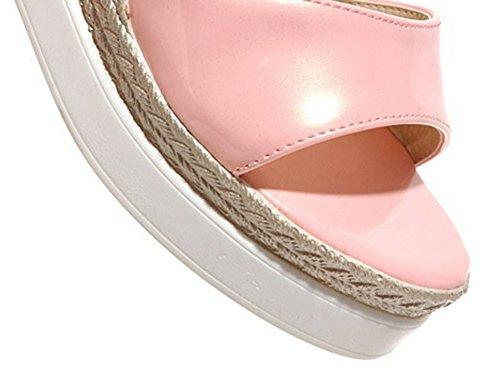 Aisun Damen Keilabsatz Plateau Peep-Toe Knöchelriemchen offene Ferse Pumps Sandalen Pink