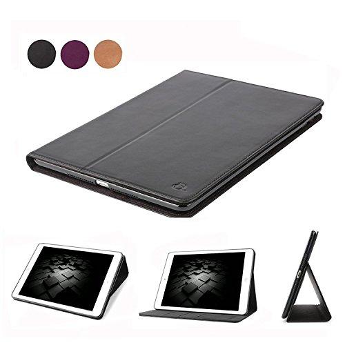 Leder Covers 4 Ipad Echt (Dingrich iPad 4 3 2 Hülle, Echt Leder Hülle mit magnetischen Schlaf / Wach, Standfunktion und Fach für Kreditkarten, für Apple iPad 2 3 4(Schwarz))
