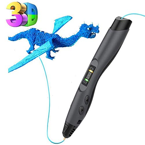 Tecboss Penna 3D, 3D Penna Stampa Professionale con Schermo LCD, 8 velocità 3D Pen Compatibile con PLA/ABS, Il Miglior Regalo Fai da Te per i Bambini e Adulti, Nero