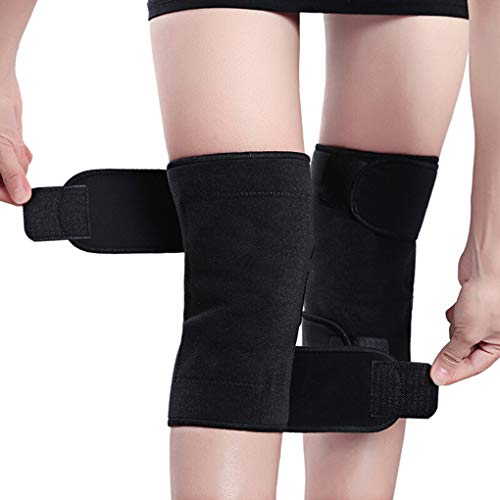 Busirde 1pair Tourmaline Self-Riscaldamento Ginocchio Leggings Gancio Magnetico del Ginocchio Regolabile per Massaggi Pads Supporto Manica