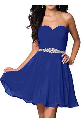 Hotkleider Damen Sexy Herzform Partykleider Chiffon Brautjungfernkleider Kurz Cocktail Sommer Abendkleider-52-Royal Blau Abschlussbal