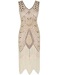 02bd80de4 PrettyGuide Mujeres 1920s Inspirado Art Deco Lentejuela con Flecos Vestido  de Coctail Charleston